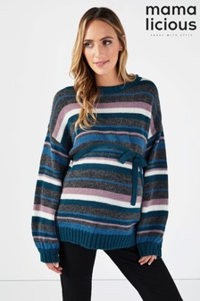 Mamalicious Maternity Stripe Long Sleeve Jumper