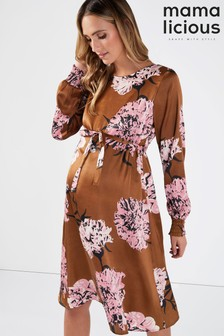 Mamalicious Maternity Floral Printed Satin Midi Dress