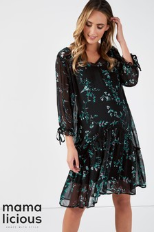 Mamalicious Maternity Floral Printed Midi Dress