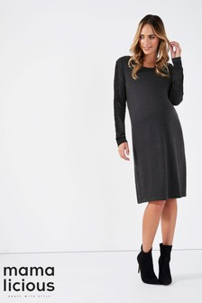 Mamalicious Maternity Long Sleeve Jersey Dress