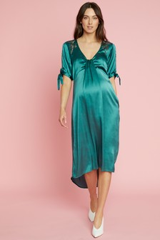 Mamalicious Maternity Satin Embellished Woven Dress