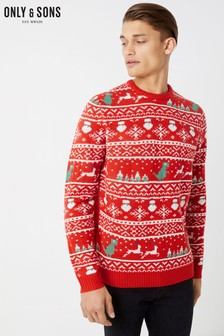 Only & Sons Jacquard Christmas Jumper