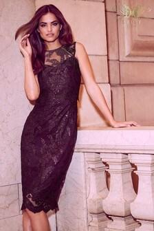 Lipsy VIP Sequin Scallop Lace Midi Dress