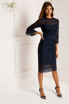 Lipsy VIP 3/4 Sleeve Lace Midi Dress