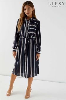 Lipsy Stripe Midi Shirt Dress