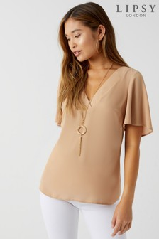 Lipsy Necklace Short Sleeve Top
