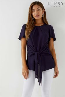 Lipsy Knot Front Short Sleeve Blouse