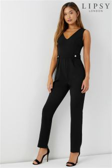 Lipsy Button Front V neck Jumpsuit