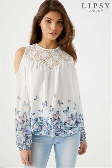 Lipsy Lace Butterfly Print Cold Shoulder Top