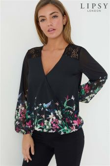 Lipsy Printed Long Sleeve Wrap