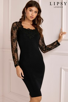 Lipsy Sweetheart Cross Back Lace Dress