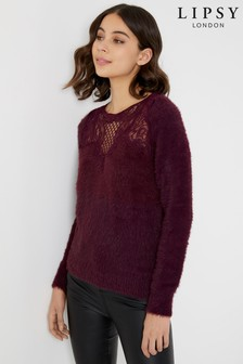 Lipsy Lace Trim Eyelash Jumper