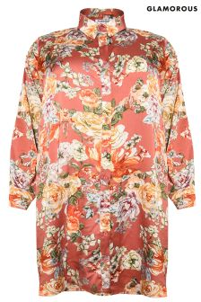 Glamorous Curve Floral Print Shirt Dress