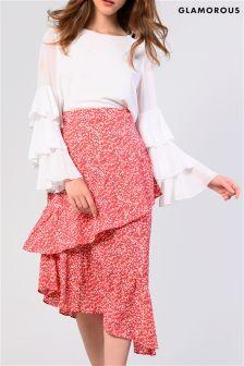 Glamorous Printed Tiered Midi Skirt