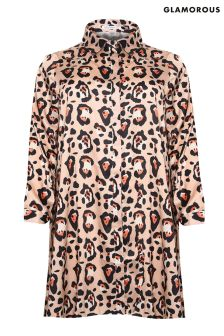 Glamorous Curve Leopard Print Shirt Dress