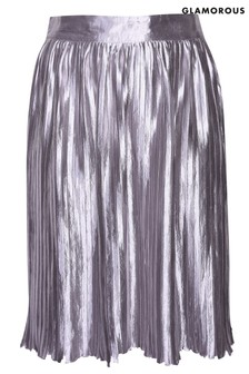 Glamorous Curve Pleated High Waisted Midi Skirt