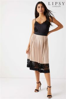 Lipsy Lace Pleated Midi Skirt