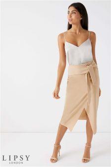 Lipsy Tie Front Midi Skirt