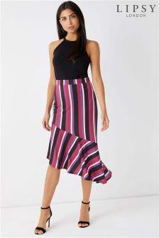 Lipsy Stripe Aymmetric Ruffle Midi Skirt