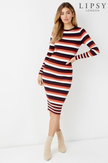 Lipsy Stripe Ribbed Dress