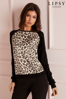 Lipsy Woven Front Animal Jumper