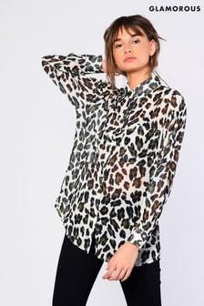 Glamorous Leopard Print Oversized Shirt