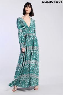 Glamorous V neck Print Maxi Dress
