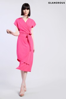 Glamorous Asymmetric Tie Midi Dress