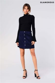 Glamorous Corduroy Button Front High Waist Mini Skirt