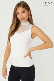 Lipsy Lace High Neck Top