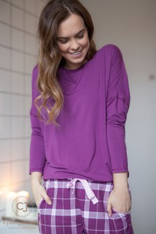 Cyberjammies Knit Top And Check Trouser Set