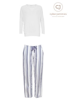 Cyberjammies Knitted Top And Striped PJ Set