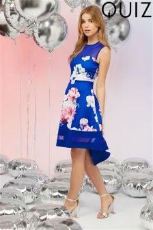 Quiz Floral Mesh Dip Hem Dress