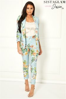 Sistaglam Loves Jessica Tailored Floral Print Trousers