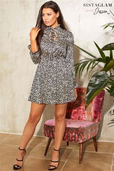 Sistaglam Loves Jessica Animal Print Tie Neck Skater Dress