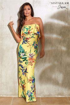 Sistaglam Loves Jessica Floral Print Frill Bandeau Maxi Dress