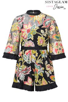 Sistaglam Loves Jessica Oriental Print Flare Sleeve Playsuit