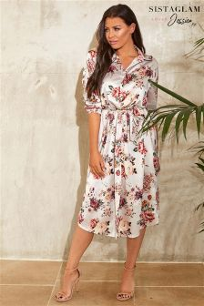 Sistaglam Loves Jessica Floral Print Satin Tie Belt Dress