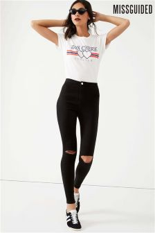 Missguided Short Length High Waisted Slash Knee Skinny Jeans