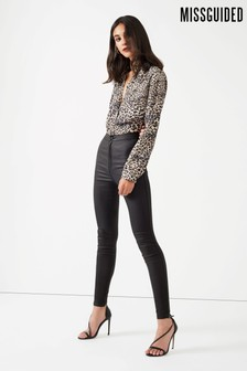 Missguided Short Length High Waisted Coated Skinny Jeans