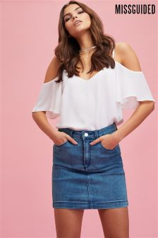 Missguided Button Mini Skirt