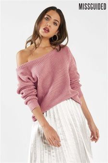 Missguided Knitted Bardot Jumper