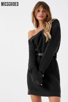 Missguided Off Shoulder Knitted Jumper Dress