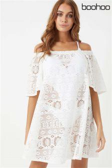 Boohoo Crochet Bardot Beach Dress