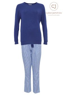 Cyberjammies Knitted Top And Geo Print Pyjama Set