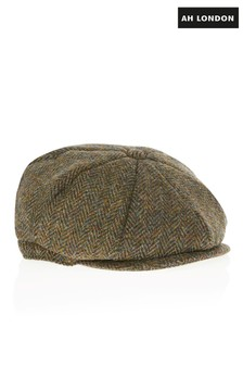 AH London Flaches Cap aus grünem Harris-Tweed