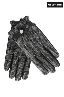 Guantes negros de tweed Harris de AH London