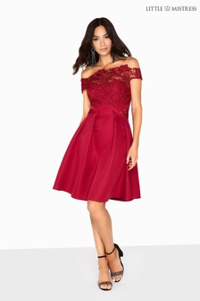 Little Mistress Lace Insert Skater Dress