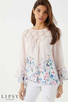 Lipsy Printed Frill Sleeve Blouse