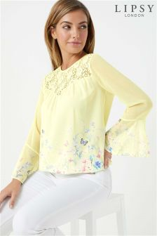Lipsy Printed Frill Sleeve Top